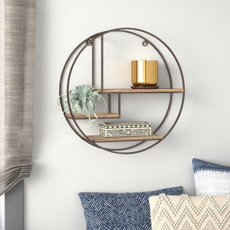 Aberdeen 3 Piece Circle Mango Wood Accent Shelf