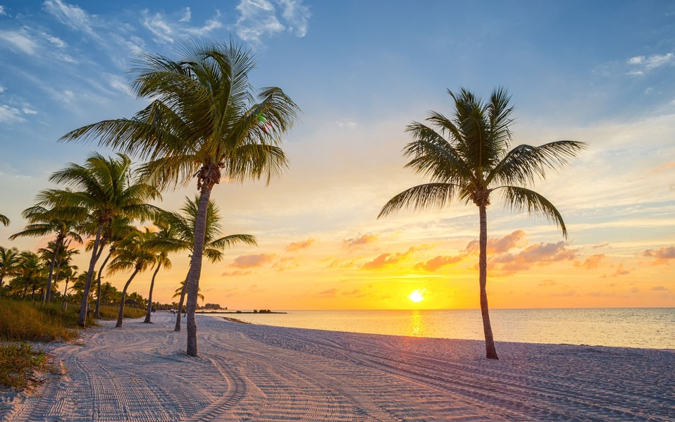 sunrise on beach at key west,