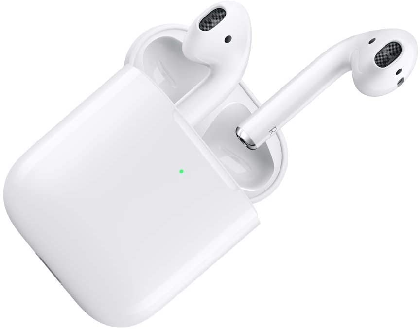 Apple AirPods with white charging case