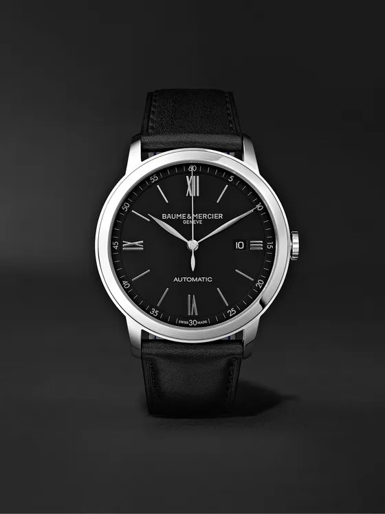 Baume-et-Mercier-Classima-Automatic-42mm-Stainless-Steel-and-Leather-Watch