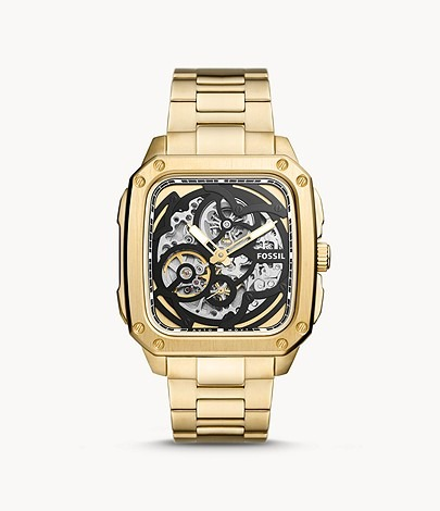 Fossil-Inscription-Automatic-Gold-Tone-Watch