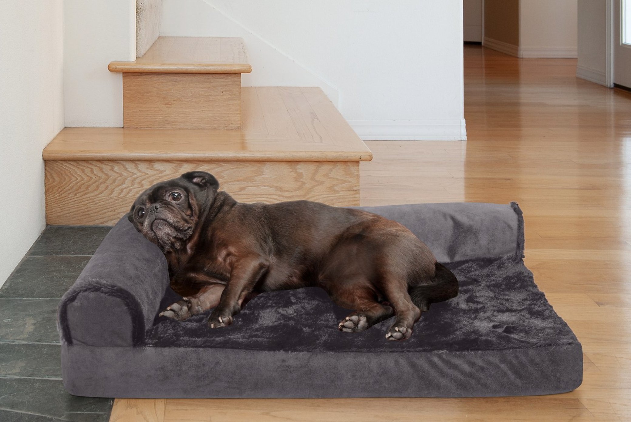 FurHaven Plush Deluxe Chaise Cooling Gel Cat & Dog Bed