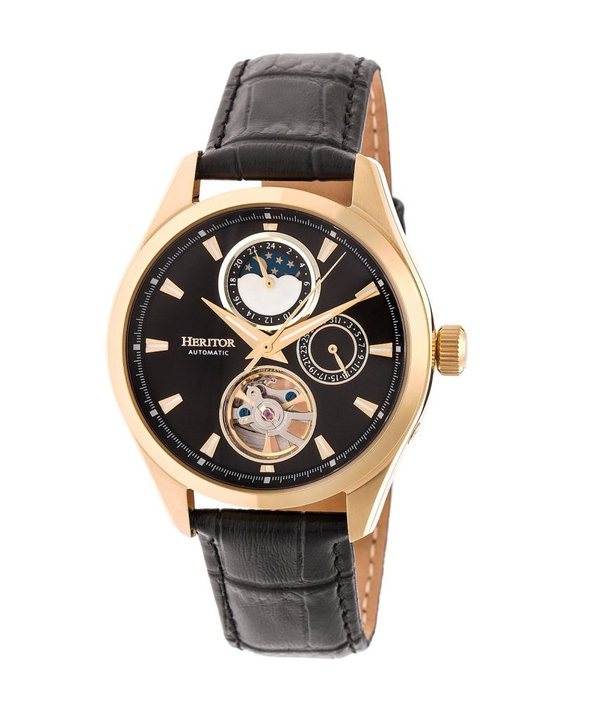 Heritor-Automatic-Sebastion-black-and-gold-leather-watch