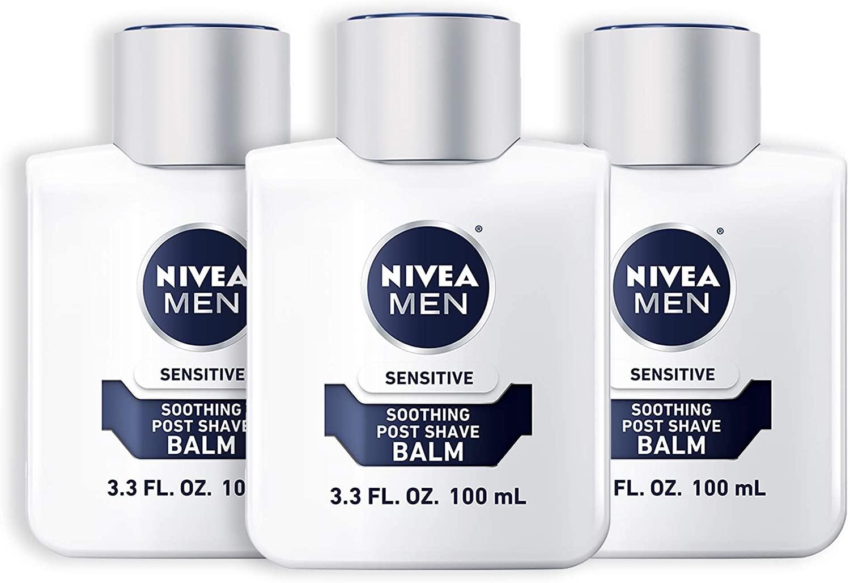 Three bottles of Nivea Men's Sensitive Post Shave Balm