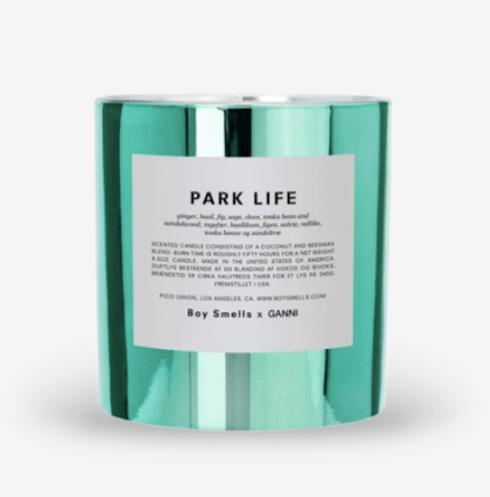 boy smells park life candle