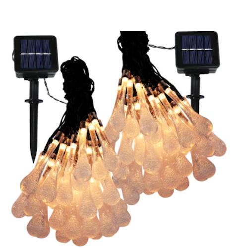Sunnydaze Decor Water Drop Solar LED String Light (Warm Light)
