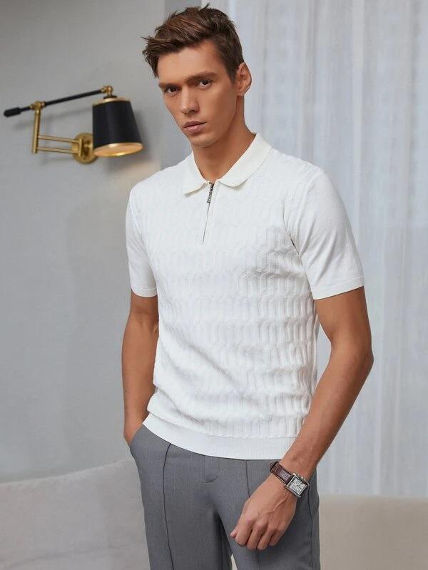 Best men's polo shirt Shein-Mens-half-zip-solid-knit-polo-shirt