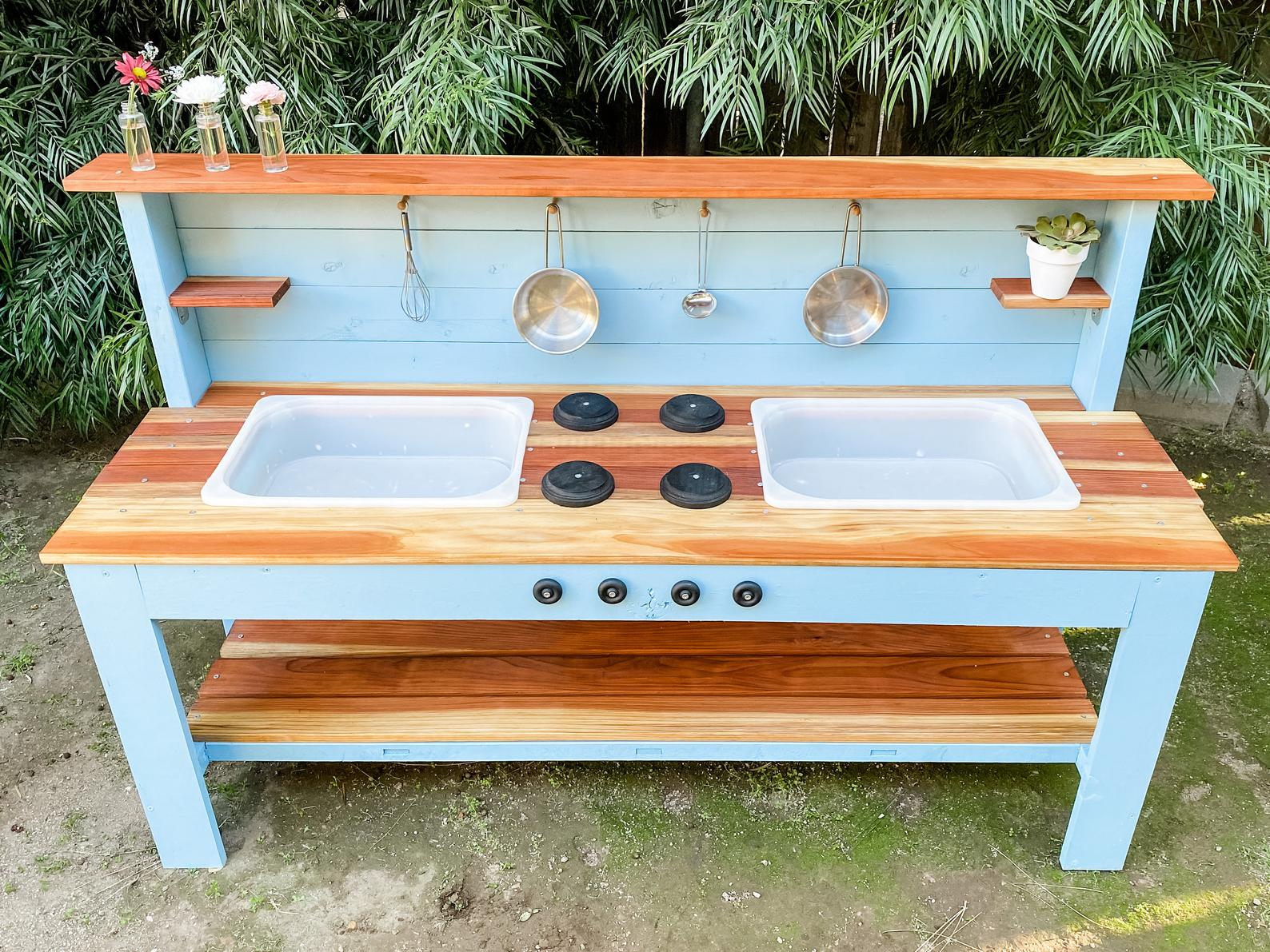 WoodNPoppy double sink mud kitchen