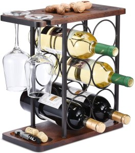 allcener wine rack with glass holder, how to store wine