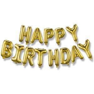 gold mylar balloons banner, birthday banners