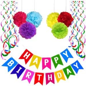 YOFEY1 colorful happy birthday banner, birthday banners
