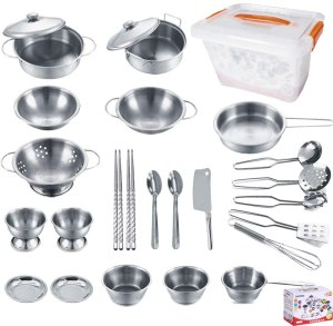KEJIH stainless steel utensils set, best mud kitchens for kids