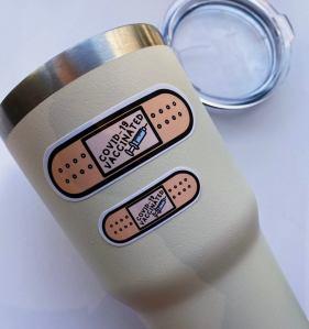 covid vaccinated vinyl sticker, covid vaccine merch