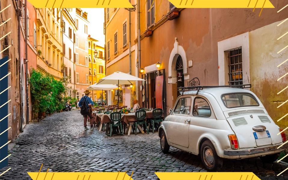 romantic alley in rome