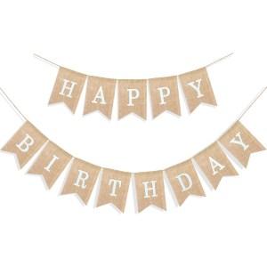 Uniwish burlap happy birthday banner
