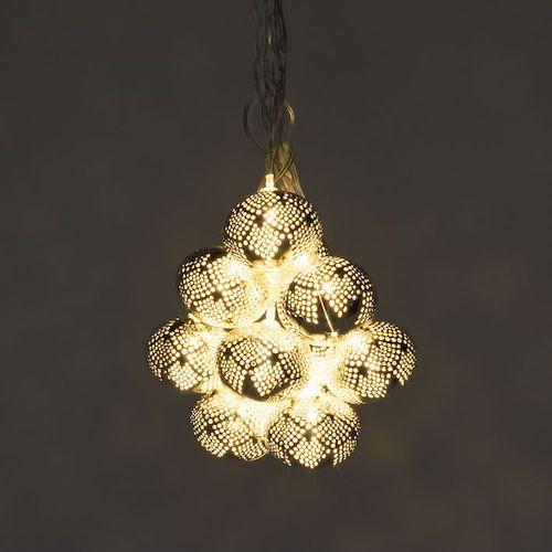 Metallic Silver Solar String Lights