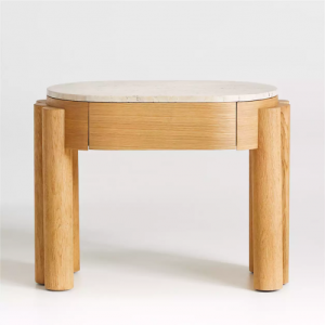 oval wood side table with storage