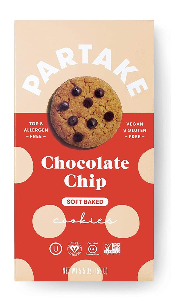 Partake Foods Chocolate Chip Soft-Baked Cookies, best allergen-free snack