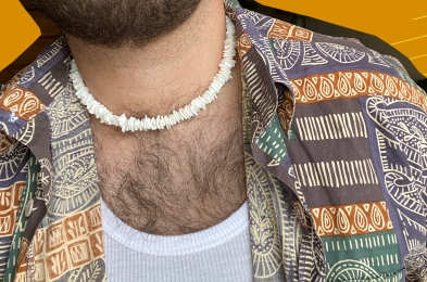 person in puka shell necklace