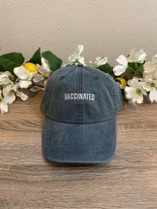 vaccinated embroidered pigment-dyed baseball cap, covid vaccine merch