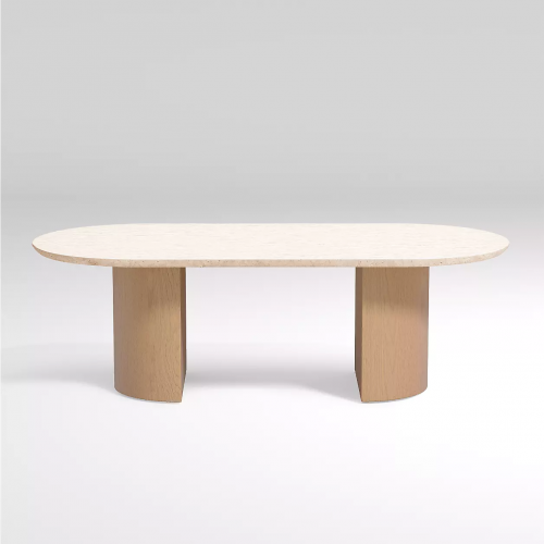 oval travertine coffee table