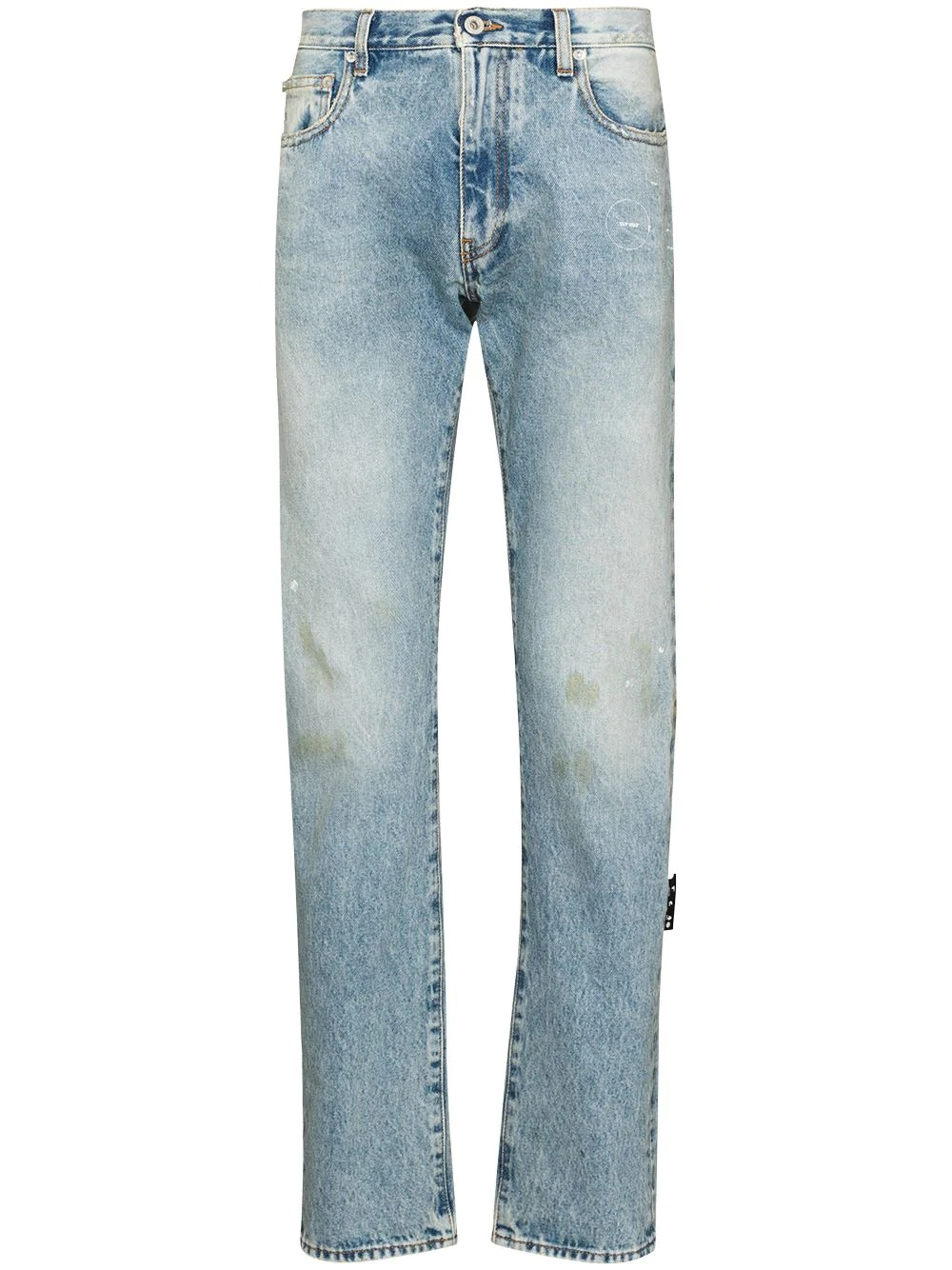 Off-White Logo-Print Slim-Cut Jeans