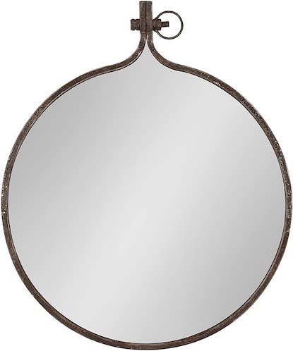 Kate and Lauren Yitro Round Industrial Rustic Metal Framed Wall Mirror