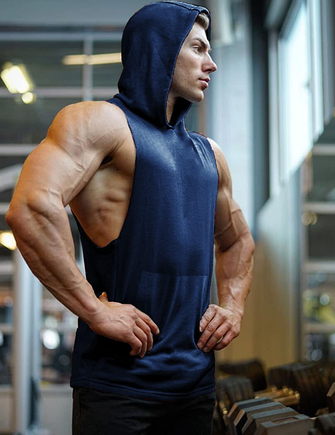 COOFANDY Workout Hooded Tank Top