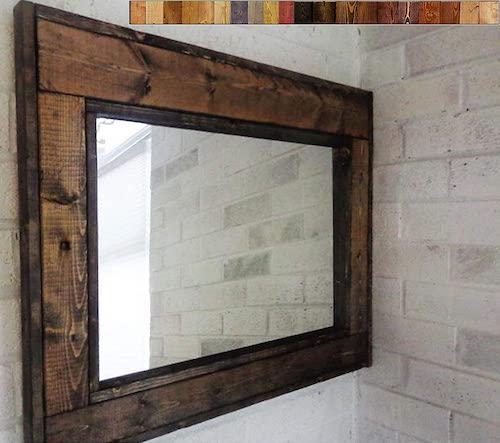 Herringbone Reclaimed Wood Framed Mirror