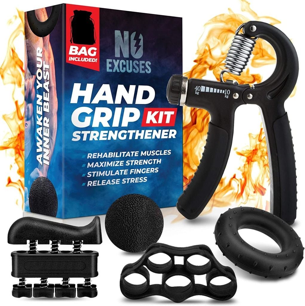 No Excuses Grip Strength Trainer Kit, hand exerciser / grip strengthener