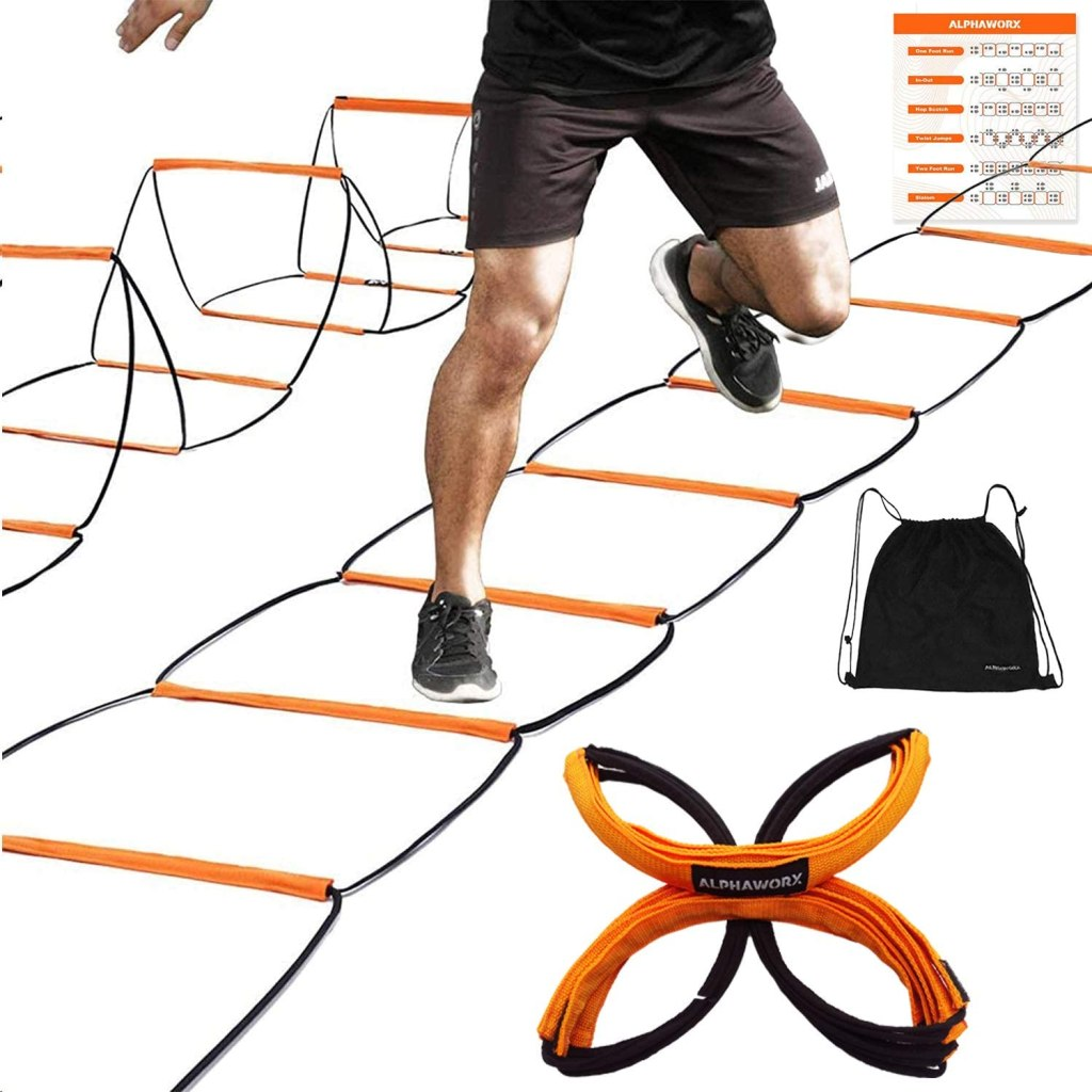 ALPHAWORX All-in-one Agility Ladder Speed Training Equipment and Speed Hurdle