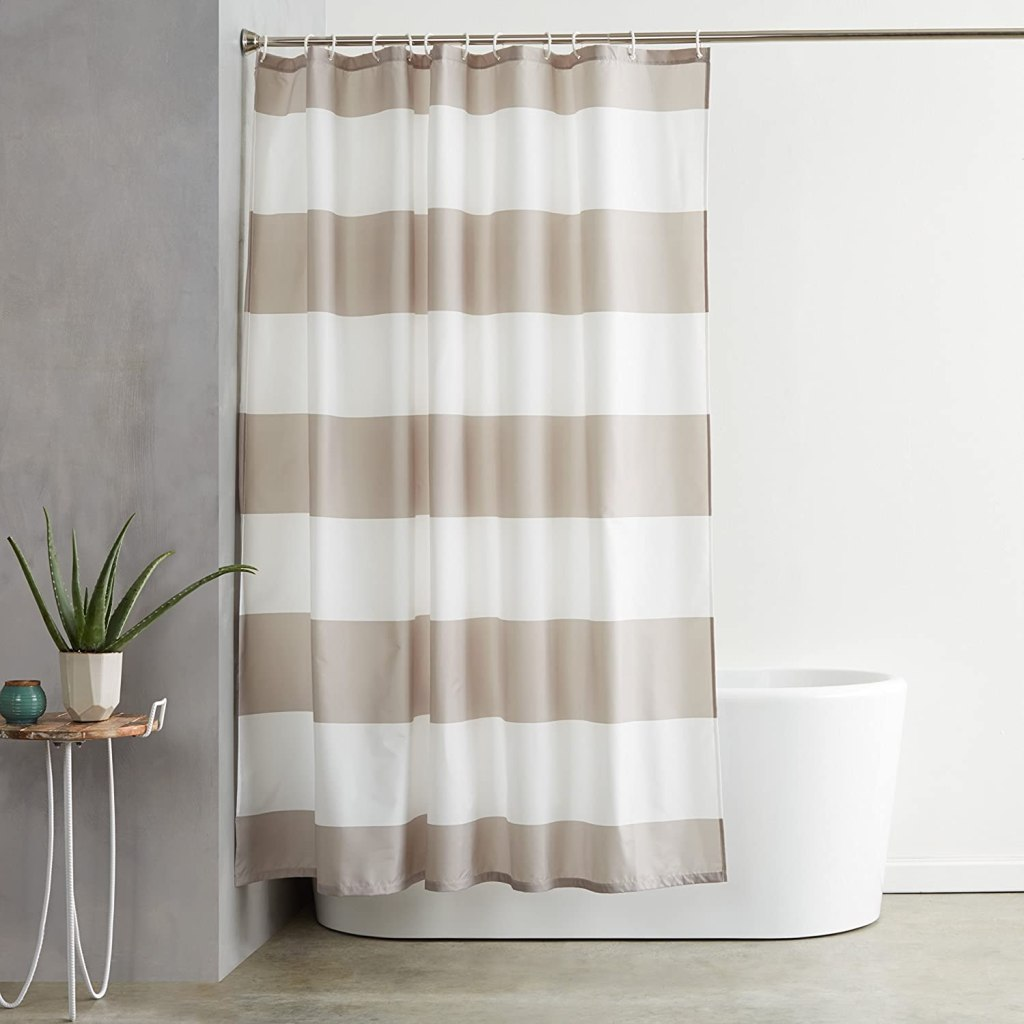 Amazon-Basics-Shower-Curtain-With-Hooks-72-Inch-Gray-Stripe