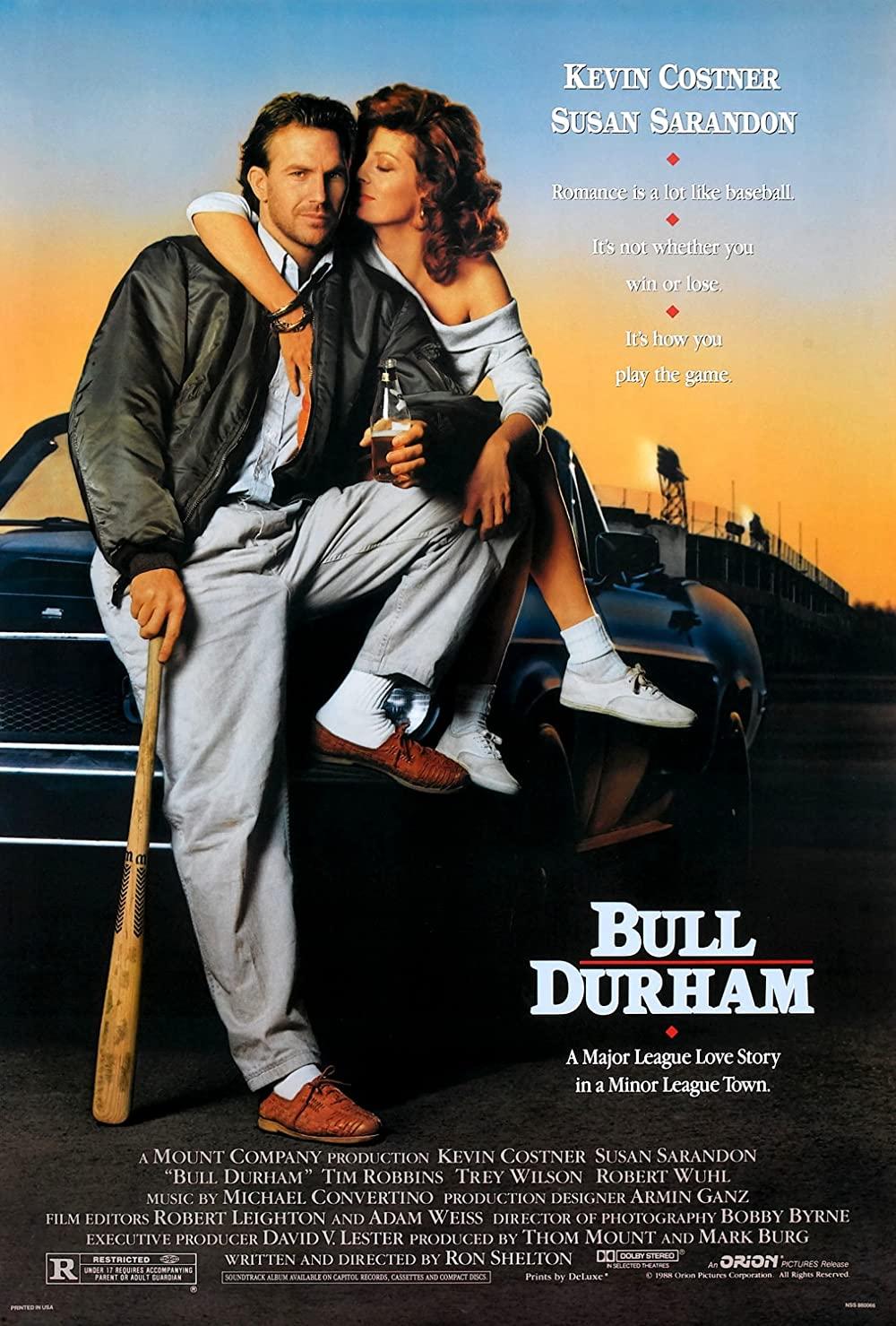 Bull Durham movie poster; best baseball movies