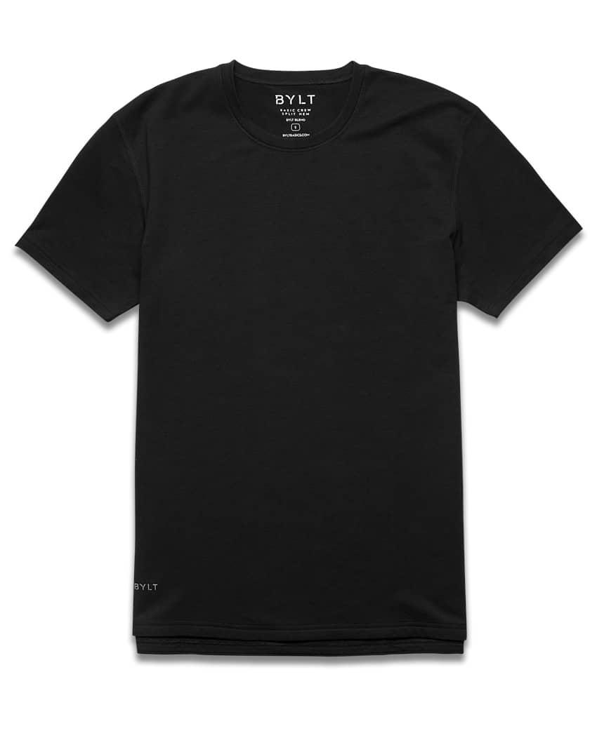 BYLT Basic Crew Split Hem Slim Fit T-Shirt in black; slim fit T-shirts