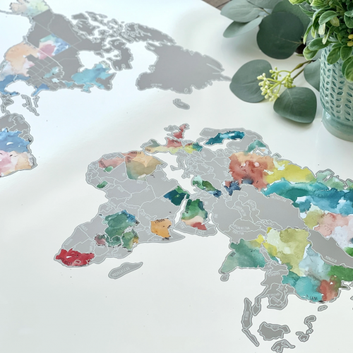 muted multicolor scratch map