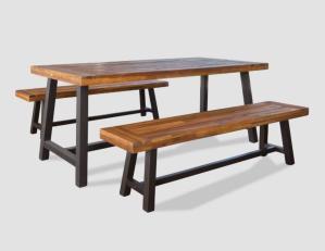 carlisle rustic wood patio dining set