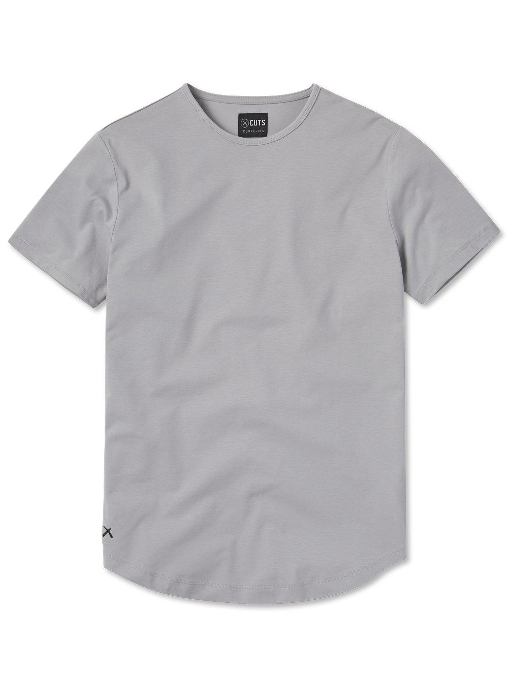 Cuts Clothing PYCA Pro Crew Curve Hem Slim Fit T-Shirt in granite; slim fit T-shirts