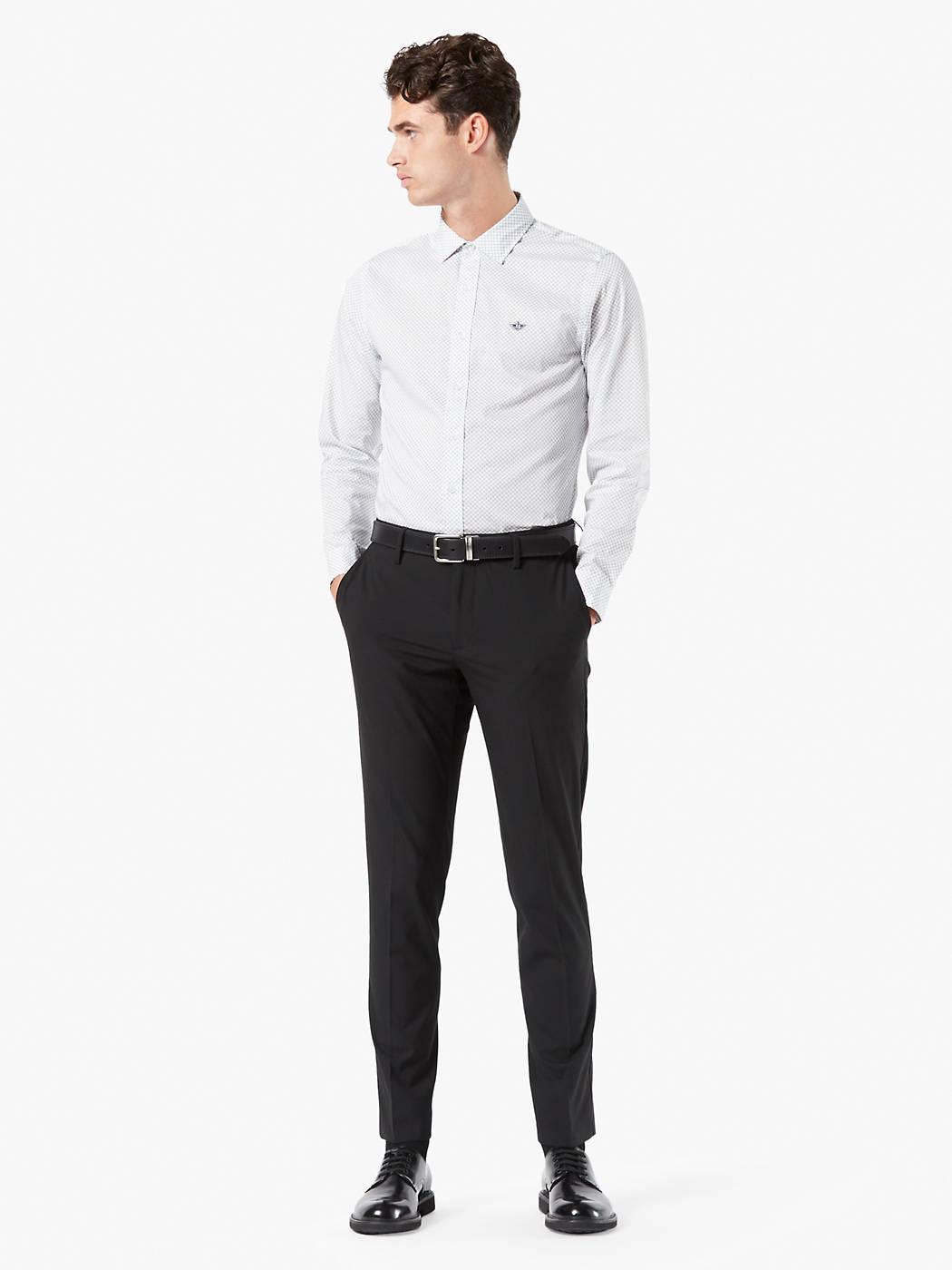 Man wears Dockers Alpha Trousers Slim Fit Pants in black