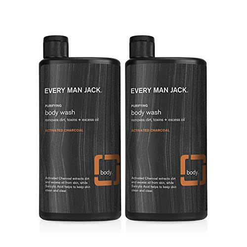 Two bottles of Every Man Jack Activated Charcoal Body Wash; best salicylic acid body wash