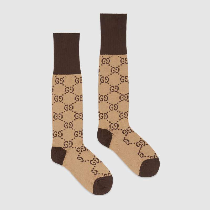 GUCCI Logo-Intarsia Stretch Cotton-Blend Socks