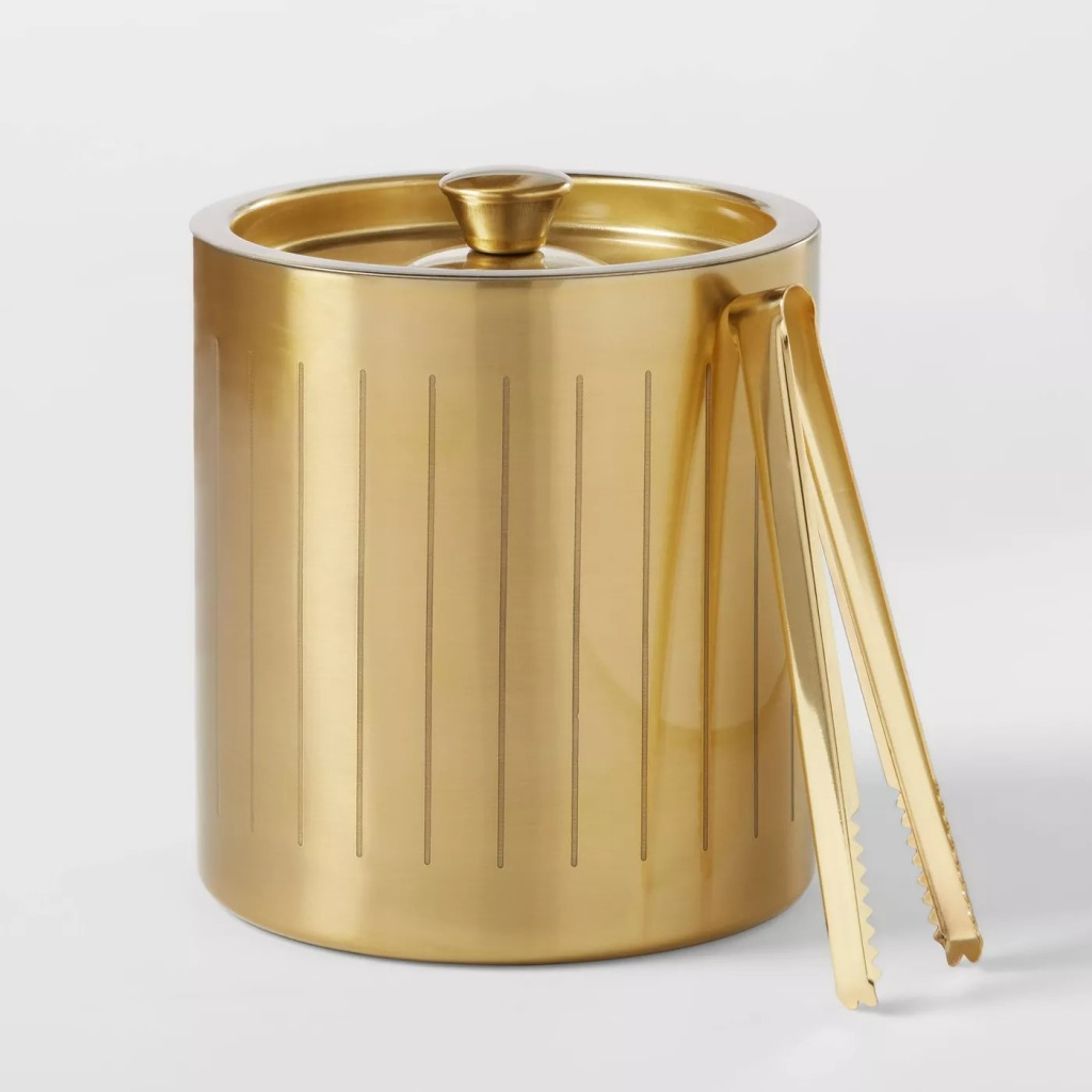 Project 62 Stainless Steel Ice Bucket with Tongs, Gold, Bar cart accessories