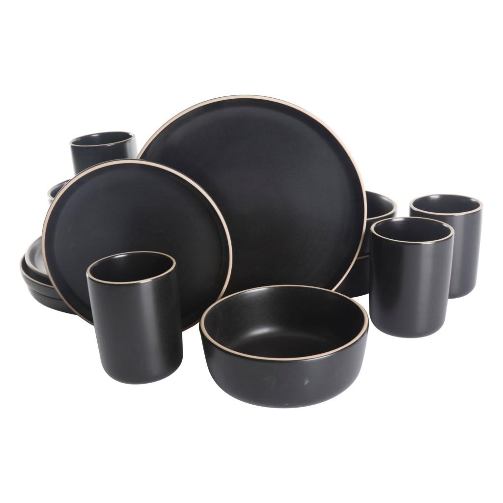 Gap Home 16-Piece Round Black Stoneware Dinnerware Set