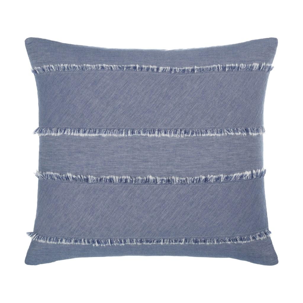 Gap Home Frayed Denim Decorative Square Throw Pillow Dark Blue