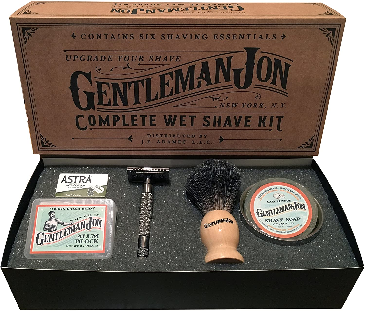 Gentleman Jon Complete Wet Shave Kit with safety razor, badger hairbrush, an alum block, shave soap, steel bowl and Astra razor blade pack