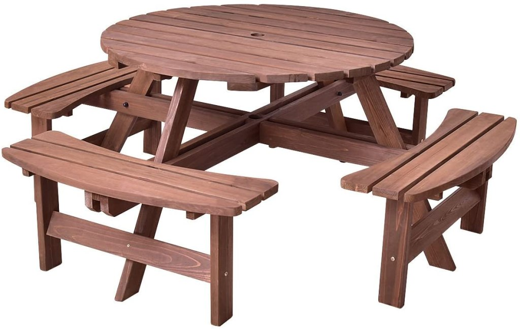giantex wooden picnic table round