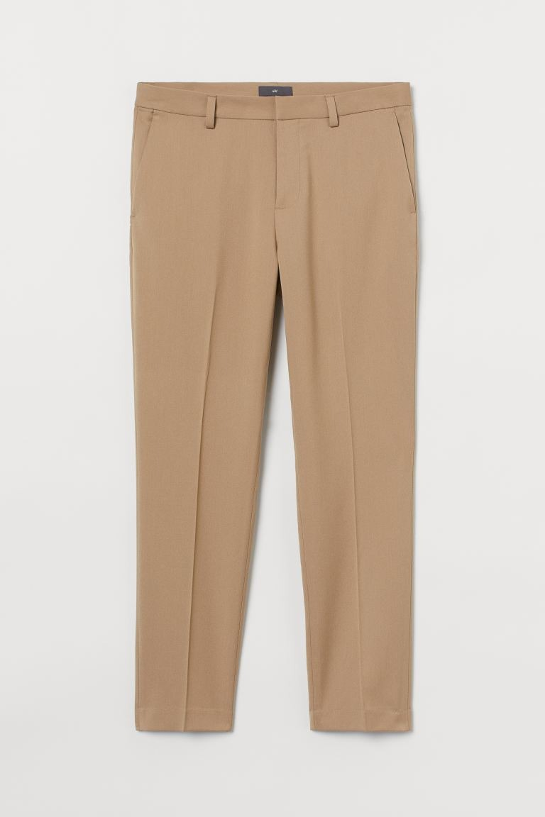 H&M Slim Fit Slacks in khaki; men's dress pants