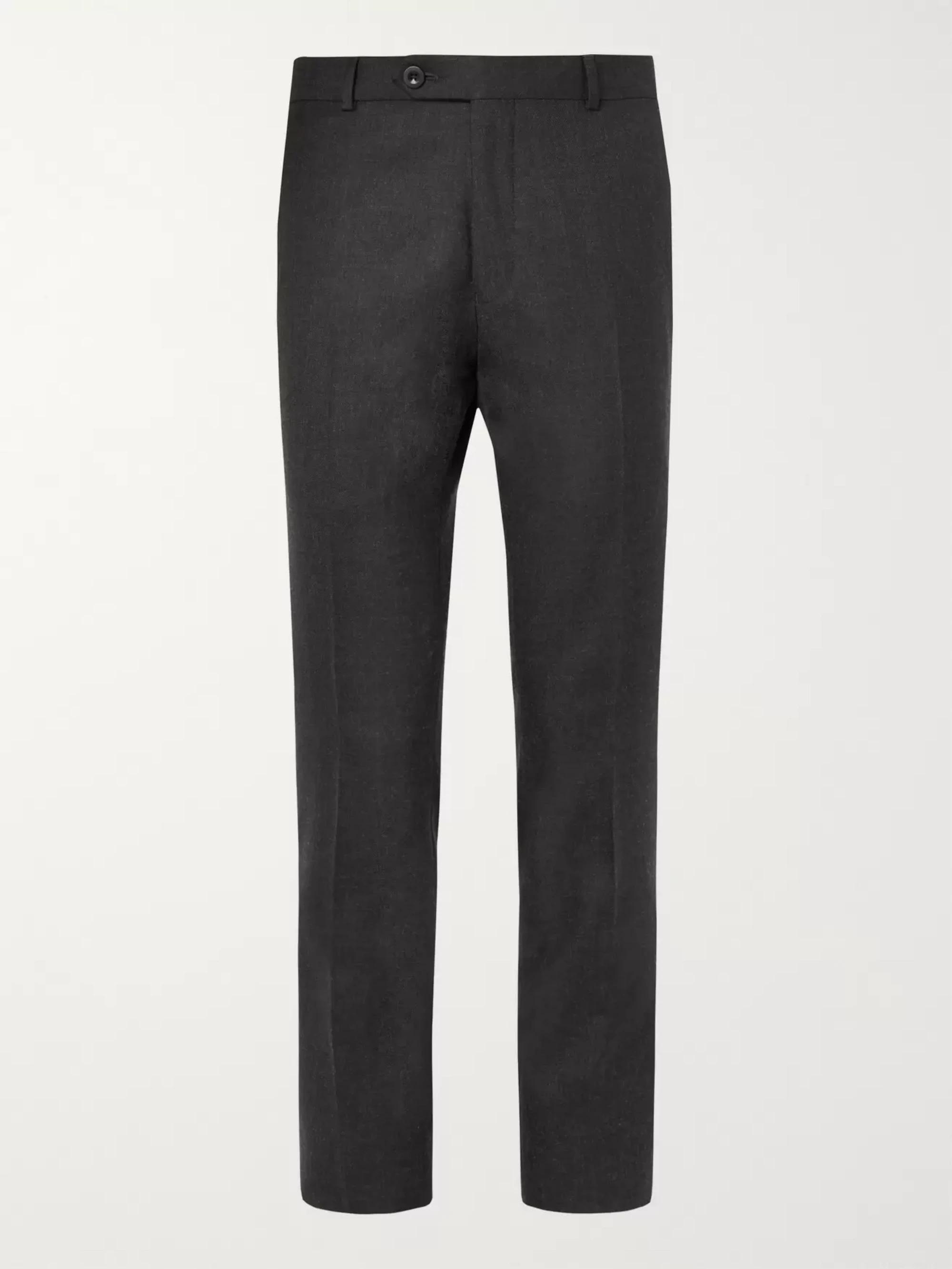 Mr. P Slim Fit Grey Worsted Wool Trousers; men's dress pants