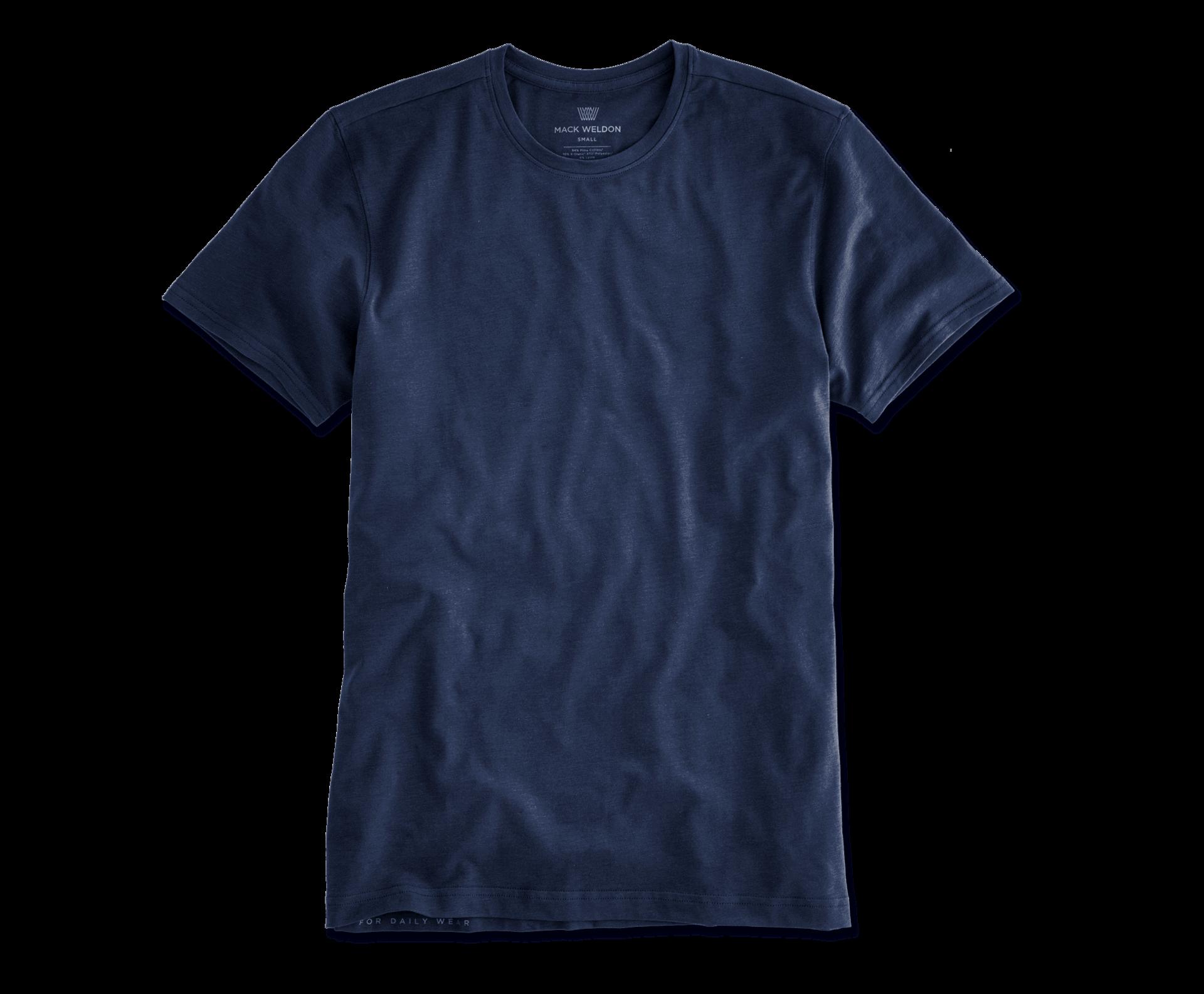 Mack Weldon Silver Crew Neck T-Shirt in navy; slim fit T-shirts