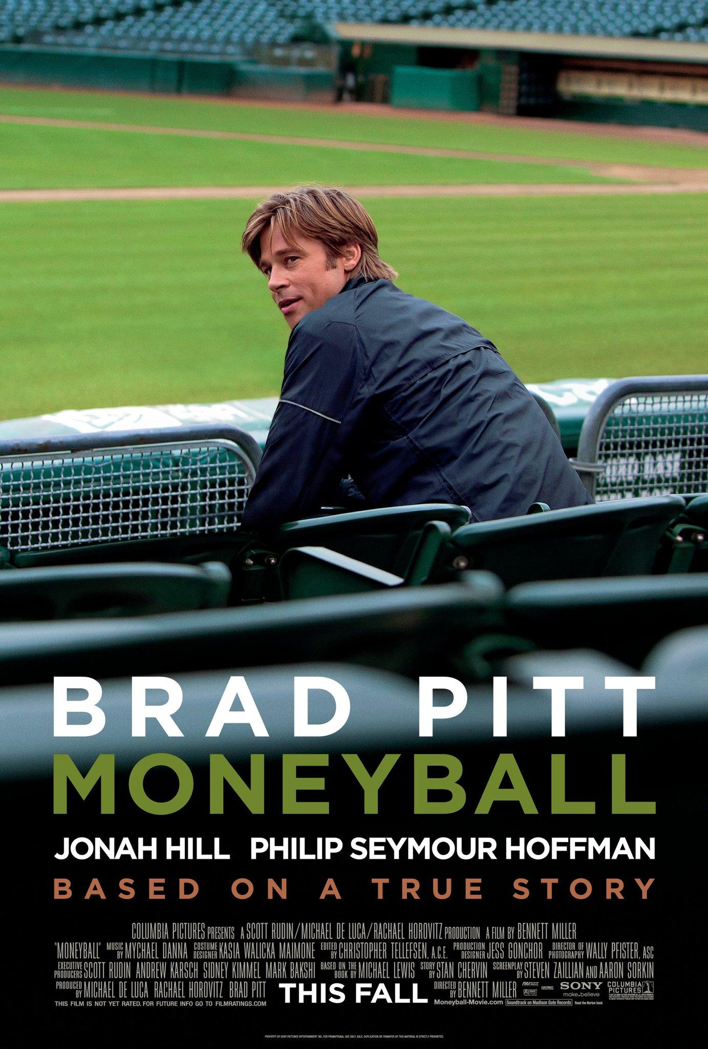 Moneyball movie poster; best baseball movies