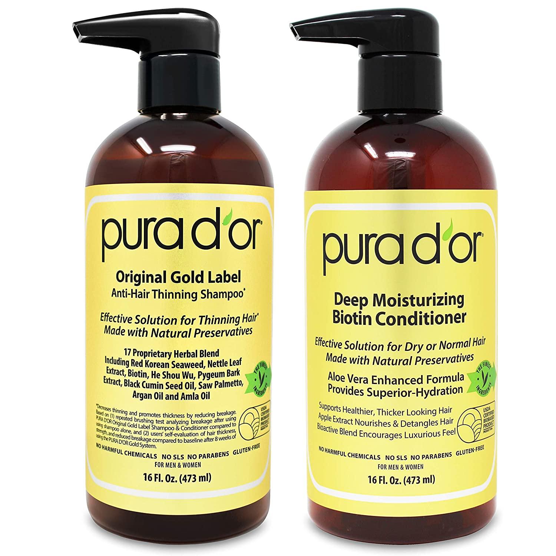 Pura d'Or Anti-Hair-Thinning Shampoo and Deep Moisturizing Biotin Conditioner